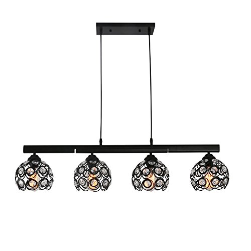 Unitary Brand Modern Black Metal Crystal Hollow Shade Shape Adjustable Kitchen Island Light with 4 E26 Bulb Sockets 160W Painted Finish Review