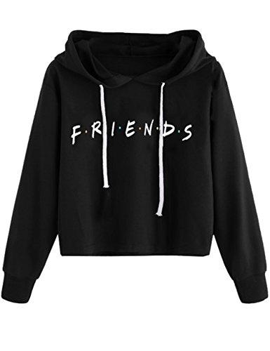 MISSACTIVER Women's Crop Hoodie Long Sleeve Letter Print Pullover Sweatshirt (Large, Black-F) (Best Friend Pullover Hoodies)