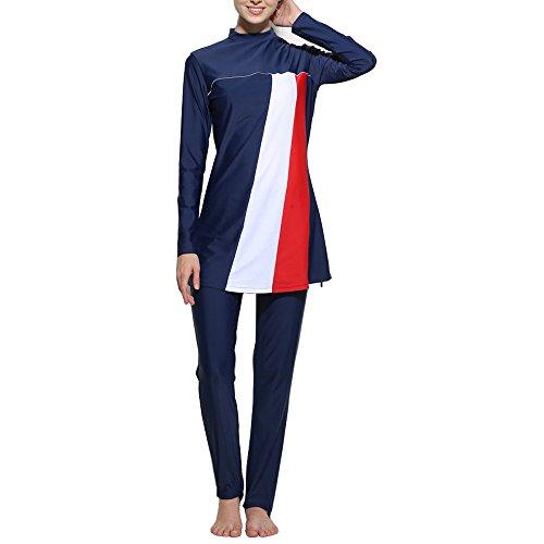 Muslim Women Modest Swimwear Islamic Short Sleeve Top+Pants Swimsuit Muslim Fashion Casual Patchwork Color Block Swimwear (Large, Dark Blue)