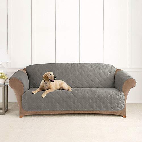 (SureFit  Microfiber Sofa Pet Throw/Slipcover with Arms, Dark Gray)