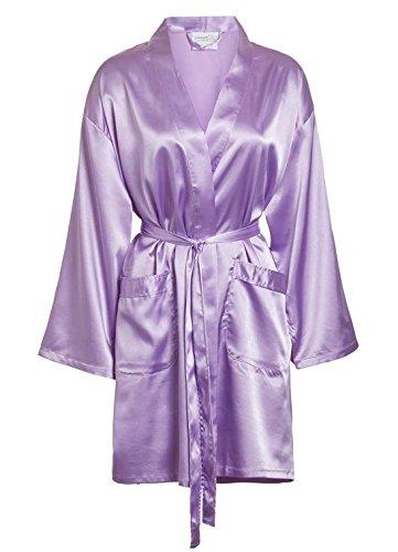 Women's Satin Robe Bridesmaids Lingerie Wedding Kimono Bridal Silk Bath Robe Lavender Small/Medium