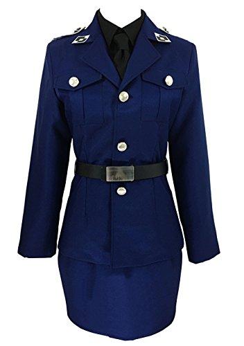 (ZYHCOS Cosplay Costume Office Lady Navy Blue Step Skirt Dress Halloween Uniform)
