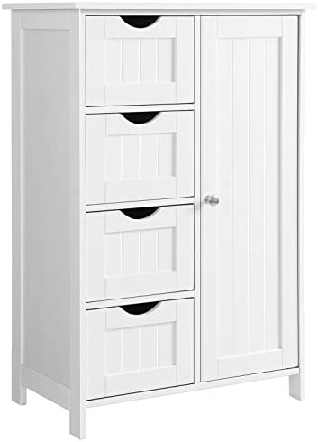 VASAGLE Bathroom Storage Cabinet, Floor with Adjustable Shelf and Drawers, White