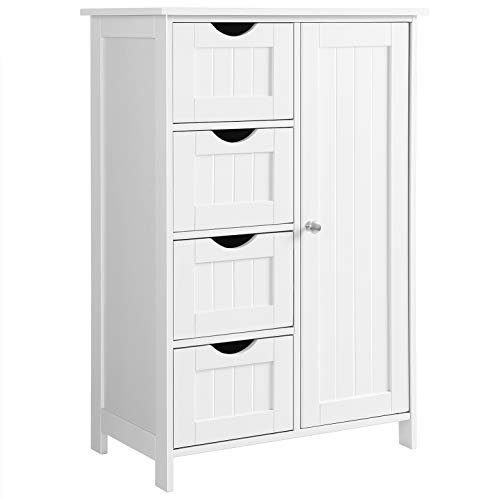 (VASAGLE Bathroom Storage Cabinet, Floor with Adjustable Shelf and Drawers, White ULHC41W)