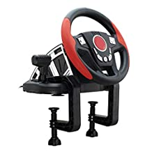 Game Steering Wheel Support PC/PS3 Game Steering Wheel 300° Rotation Metal Tire Shape Super Size Rough Leather Racing Wheel Double Independent C-clamp