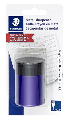STAEDTLER pencil sharpener, premium quality sharpener with screw-on lid, prevents accidental openings, compact size for pencil case and work-station, 511 63BK