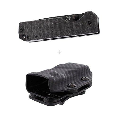 Micarta Handle Canvas Knife Black (StatGear's Ausus Folding Pocket Knife - a Luxury EDC with a Canvas Micarta Handle and D2 Steel Blade (Black Micarta, Black Blade, Custom Molded Kydex Sheath))