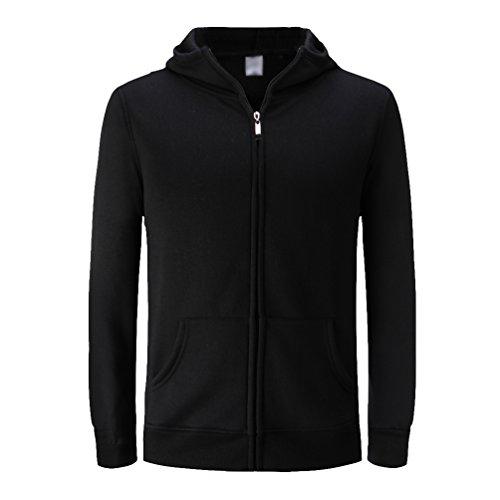Noir Dooxi La Hoodies Manches Vestes Unie À Longues Sweat Mode Couleur Zipper Unisexe Casual 4wrqxOBWU4