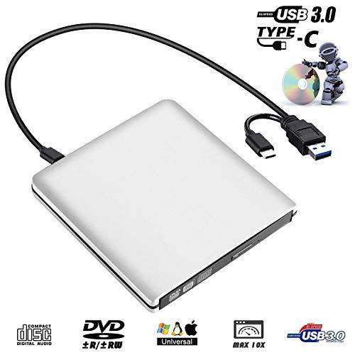 External CD DVD Drive,USB 3.0 Slim Portable CD DVD +/-RW Rewriter Burner Writer, High Speed Data Transfer USB Optical Drives Player for PC Desktop/Laptop/Windows/Linux/Mac OS
