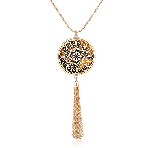 MOLOCH Long Necklaces for Woman Disk Circle Pendant Necklaces Tassel Fringe Y Necklace Set Statement Pendant (Disk-Gold-Tortoiseshell)
