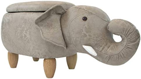 Critter Sitters Tan 15-in Seat Height Elephant Animal Shape Storage Ottoman Furniture