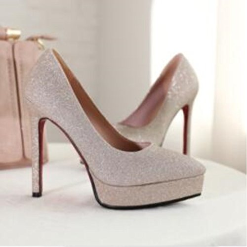 VIVIOO Prom Heels,Pointed Sandals schuhe,Beautiful Fashion,Bright Leather,12.5 Centimeter High Heels,Pointed Prom Toe Pumps,damen Pumps.Größe 34-43,Gold,8.5 97b8c2