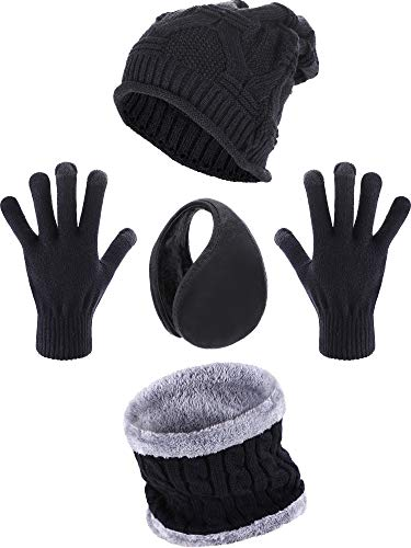Blulu 4 Pieces Winter Set Include Crochet Beanie Hat Ear Warmer Scarf and Gloves (Color 1)