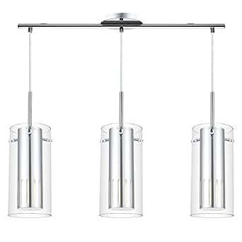 Eglo PINTO 1 - Lámpara (Interior, Cromo, Vidrio, Acero, IP20, I, Cepillado)