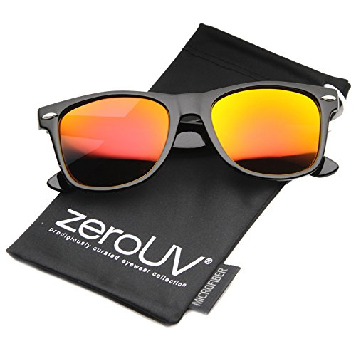 zeroUV - Flat Matte Reflective Mirror Color Lens Large Horn Rimmed Style Sunglasses - UV400 (Polarized | Shiny Black / - Black Wayfarer Flat