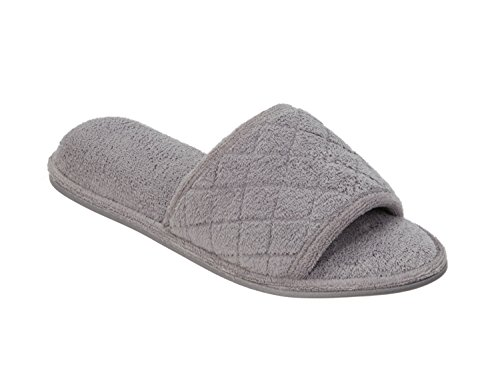Dearfoams Vamp Micro Terry Slide Grey Medium Women's With Quilted PYwrPq6