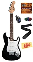 Squier by Fender Mini Strat Electric Guitar Bundle with Clip-On Tuner, Strap, Picks, Austin Bazaar Instructional DVD, and Polishing Cloth - Black