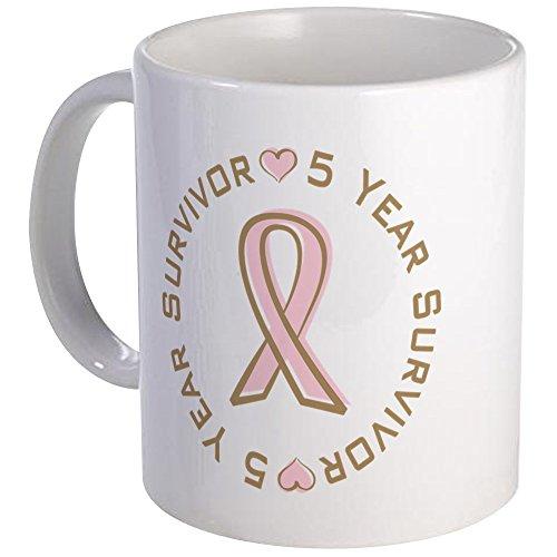 CafePress 5 Year Breast Cancer Survivor Mug Unique Coffee Mug, Coffee Cup