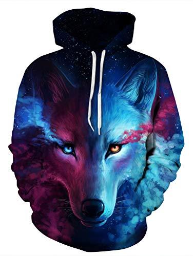 Unisex Realistic Wolf Printed Hip Hop Street Style Hip Hop Sweatshirt Pullover Hoodie for Men Women