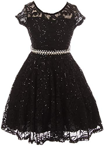 BNY Corner Big Girl Cap Sleeve Floral Lace Glitter Pearl Holiday Party Flower Girl Dress Black 16 JKS 2102]()