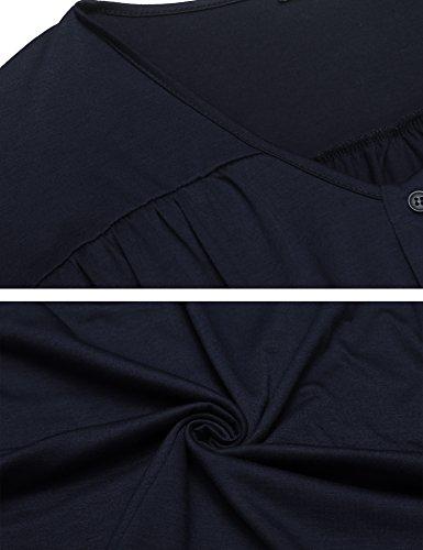 Waist Blue Sleeve Navy Beyove Short Women's Print Neck Dress Ethnic Elastic O Floral Midi 7xOzWnx