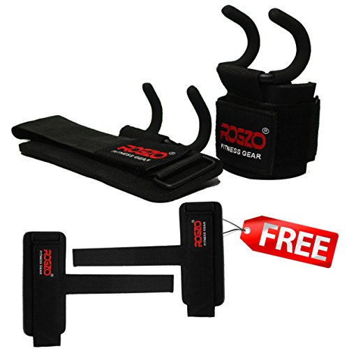 ROGZO | Weight Lifting Rod Hooks + Lifting Straps Bundle (1 PAIR of Each)