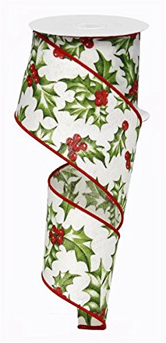 - Holly Berry Wired Edge Ribbon - 10 Yards (2.5