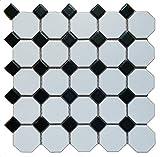 1 Carton/10 SQFT | Black & White 2'' Octagon Mosaic Tile (Matte)