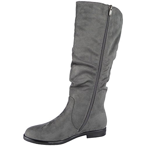 LoudLook ® Ladies Faux Suede Rouched Pixie Slouch Low Heel Mid Calf Boots Size 3-8 Grey RChJ5PEud