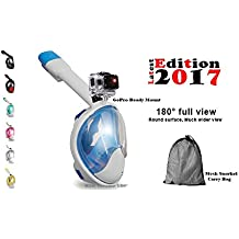 H2O Voyager 180° Latest 2017 Full Face Snorkel Mask, Larger Rounded Panoramic Viewing, GoPro Edition, Anti Fog, Anti-Leak, Easy Breathe Snorkeling, ECO Friendly 7 Unique Colors Teen n Adult Sizes