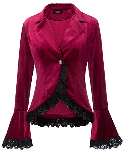 Women Victorian Coat Gothic Long Sleeve Lapel Collar Lace Trim Velvet Coat
