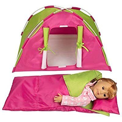 "Dress Along Dolly Doll Camping Bed Tent w Sleeping Bag & Pillow - Furniture Accessories for American Girl & 18"" Dolls - Large Sized -23""x 15""x14"": Toys & Games"