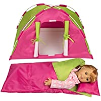 """Dress Along Dolly Doll Camping Bed Tent w Sleeping Bag & Pillow - Furniture Accessories for American Girl & 18"""" Dolls - Large Sized -23""""x 15""""x14"""""""