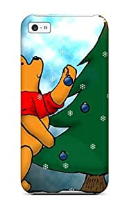 Defender Case For Iphone 5c, Pooh Christmas Green Tree Bear Brown Red White Black Xmas Santa Claus Holiday Christmas Pattern