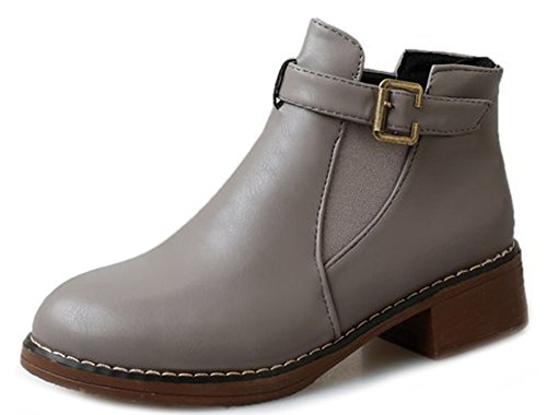Round Boots Women's New Aisun Shoes Buckle Toe Chunky Heels Gray Zw07q