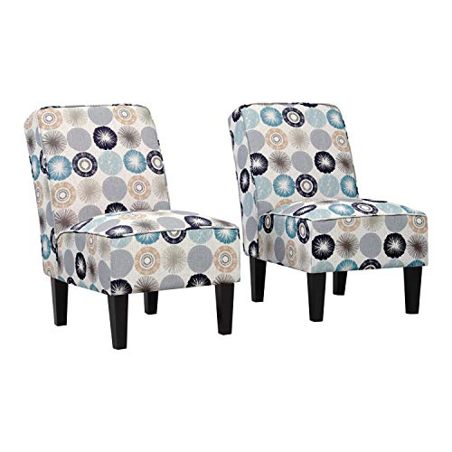 Domesis Armless Accent Chairs in Taupe Multi-Starburst - Set of 2 ()
