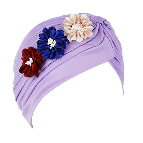(Dressin Muslim Caps Women's Elegant Stretch Flower Solid Color Turban Chemo Cancer Cap Hat Headwear )