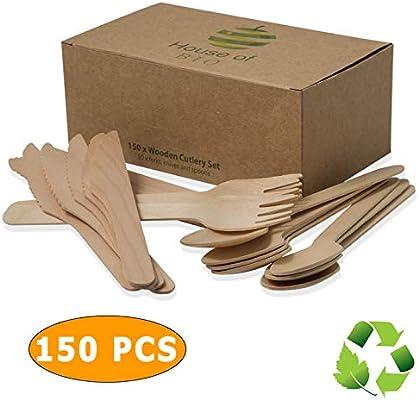 Biodegradable Cubiertos De Madera Conjunto Desechable De 150 ...