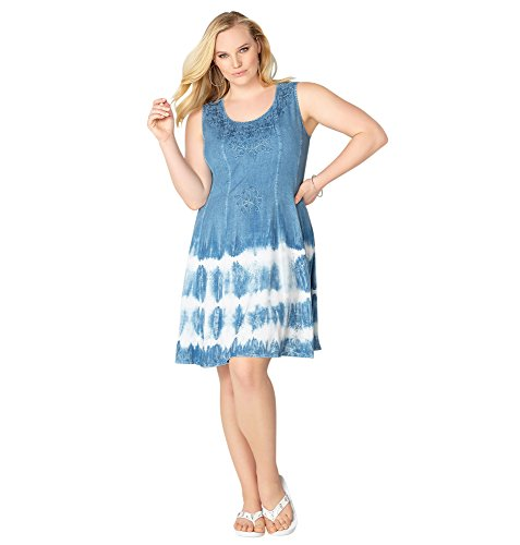 Avenue Women's Embroidered Tie Dye Hem Dress, 22/24 Blue