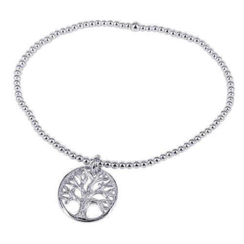 Sterling Silver Elastic - AeraVida Tree of Life Inspired Elastic .925 Sterling Silver Bead Stretch Bracelet