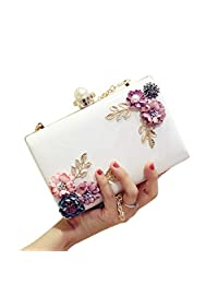 Ladies Evening Bags Flower Clutches Handbags Pearl Beaded Wedding Prom Clutch Purse for Womens