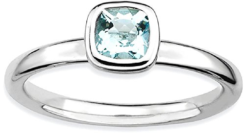 ICE CARATS 925 Sterling Silver Cushion Cut Blue Aquamarine Band Ring Size 7.00 Stackable Gemstone Birthstone March Fine Jewelry Gift Set For Women (Sisters Birthstone Heart Ring)