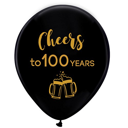 Black cheers to 100 years latex balloons, 12inch (16pcs) 100th birthday decorations party supplies for man and woman