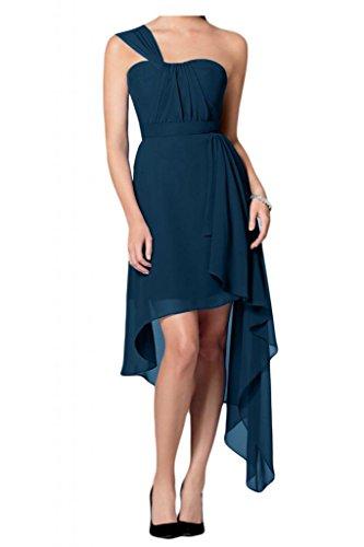 Toscana novia simplemente un-hombro para mujer Hi-Lo por la noche vestidos de gasa vestido de verano vestidos de fiesta Tinte Blau