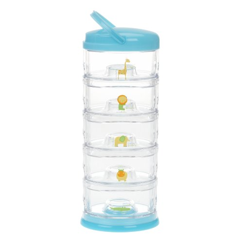 Innobaby Packin' Smart Stackable and Portable Storage System for Formula, Baby Snacks and more. 5 Stackable Cups in Blueberry Sorbet. BPA Free. by Innobaby