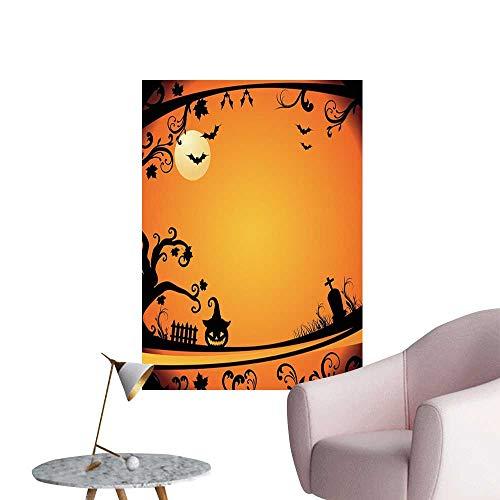 Jaydevn Vintage Halloween Wall Mural Wallpaper Stickers Halloween Themed Image Eerie Atmosphere Gravestone Evil Pumpkin Moon Boys Kids Bedroom Orange Black W16 x H20 -