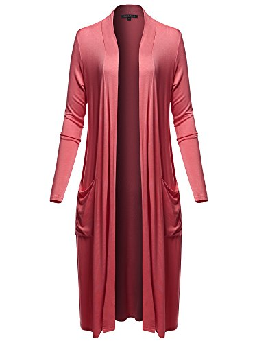 (Long Sleeve Side Pockets Midi Length Open Front Cardigan Raspberry L)