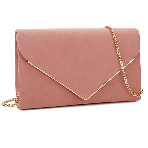 Charming Tailor Faux Suede Clutch Bag Elegant Metal Binding Evening Purse for Wedding/Prom/Black-Tie Events (Dusty Rose)