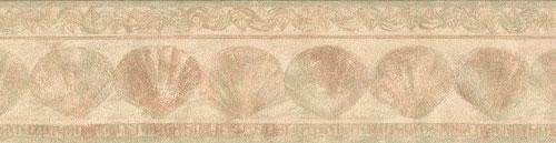 Wallpaper Border - Tan Sea Shells Prepasted Wall Border