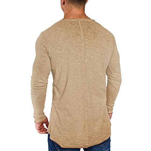 Longues Muscle Automne Chemisier À Fit Casual Top Mode Col ❤ shirt Manches Hommes Beige Morchan T Haut Slim a0x14zwn